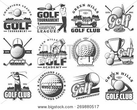 Golf Club Sport Icons And Badges. Vector Symbols Of Golf Player, Equipment And Game Items, Tee Cours