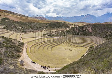 Moray, Peru - Sep 16, 2018: Tourists Visiting Moray In Peru. It Is An Archaeological Site With Incan