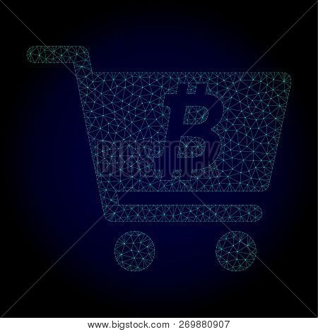Glossy Bitcoin Webshop Polygonal Illustration. Abstract Mesh Lines, Triangles And Points On Dark Bac