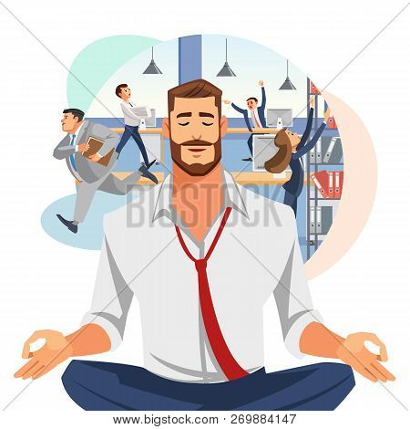 Relaxing And Stress Relief At Workplace Cartoon Vector Concept. Businessman With Untied Necktie, Sit