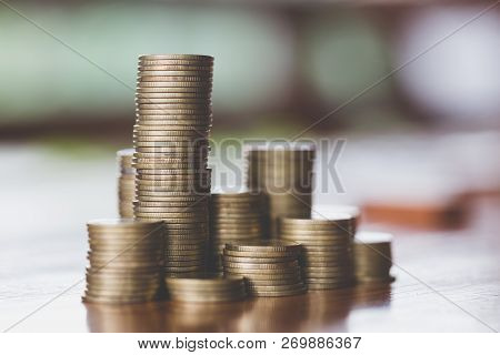 Close Up Of Coins To Stack Of Coins,  Business Growth Concept, There Is Money Coins To Stack Of Coin