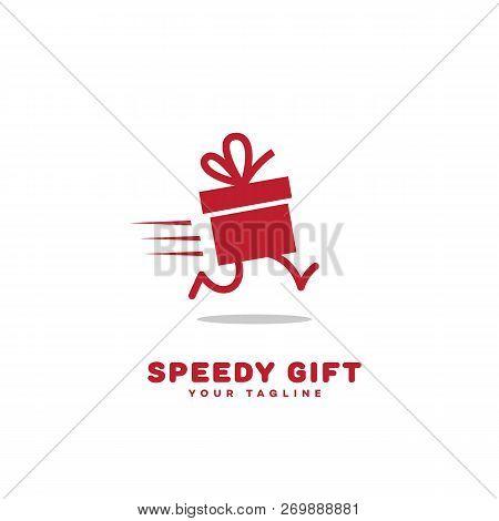 Speedy Gift Logo Template Design. Vector Illustration.