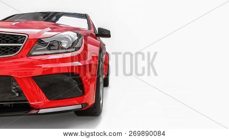 Super Fast Sports Car Color Red Metallic On A White Background. Body Shape Sedan. Tuning Is A Versio