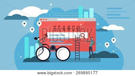 Search Results Vector Illustration. Banner With Engine Answers To Question. Online Business And Tech
