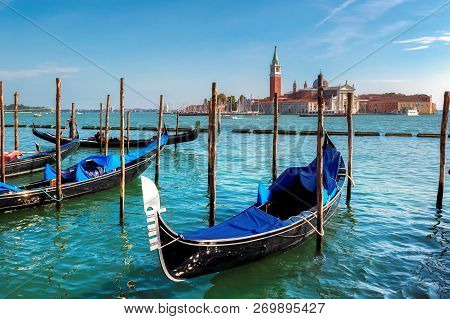 Venice Gondolas In Grang Canal, San Marco Square, Venice Italy. Travel Holiday Concept.