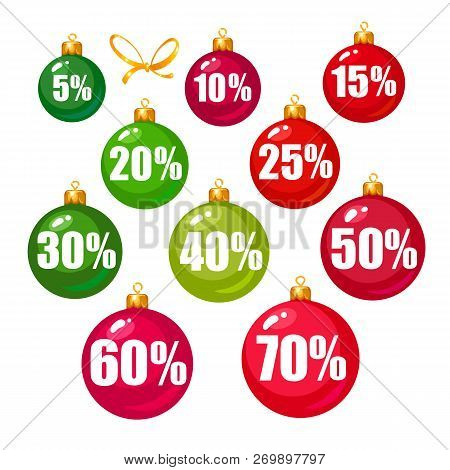 Set Of Discount Tags 10, 15, 20, 25, 30, 40, 50, 60, 70 Percent Off In The Shape Of Christmas Balls.