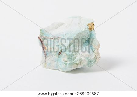 Turquoise Ore Isolated On White Background. Turquoise Is An Opaque, Blue-to-green Mineral That Is A