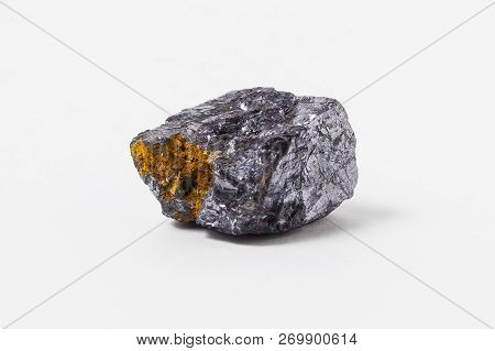 Galena ore isolated on white background. Galena, also called lead glance, is the natural mineral form of lead(II) sulfide. It is the most important ore of lead and an important source of silver. Galena is one of the most abundant and widely distributed su poster