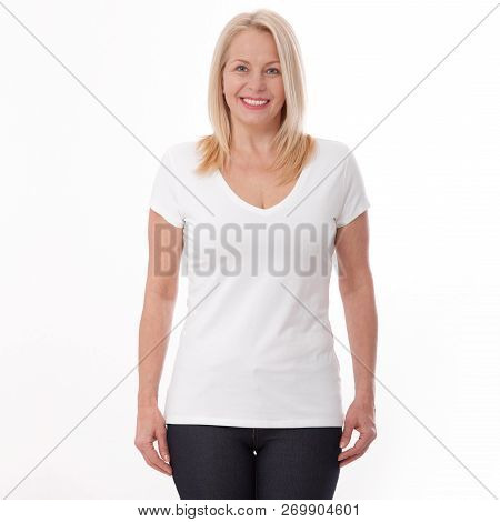 T-shirt Design And People Concept - Close Up Of Woman In Blank White T-shirt, Shirt Front Isolated.