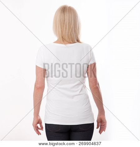 T-shirt Design And People Concept - Close Up Of Woman In Blank White T-shirt, Shirt Rear Isolated. M