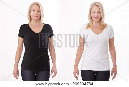 T-shirt Design And People Concept - Close Up Of Woman In Blank Black And White T-shirt, Shirt Front