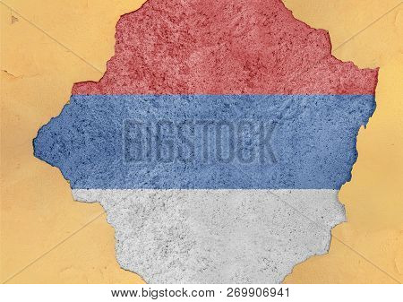 Serb Republicstate Bih Flag In Big Concrete Cracked Hole And Broken Material Facade Structure