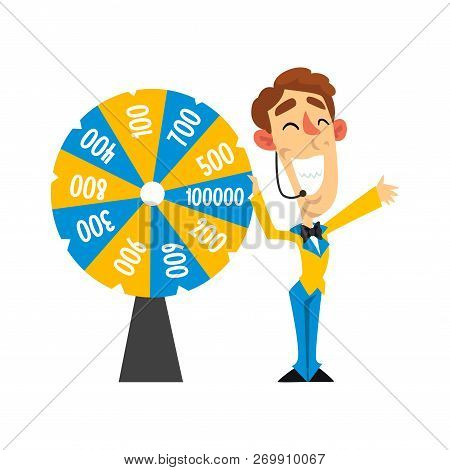 Cheerful Anchorman With Headset Spinning Roulette Wheel With Numbers, Quiz Show Concept Vector Illus