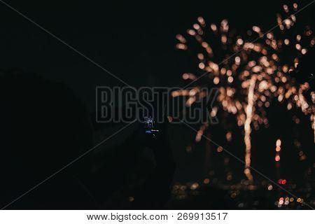London, Uk - November 3, 2018: People Taking Photo Of Fireworks On Mobile Phone During Guy Fawkes Ni