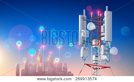 Antenna For Wireless Network. Telecommunication Cellular Station For Smart City Connections Mobile E