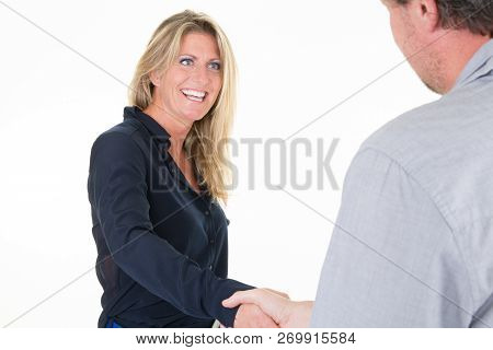 Handshake Two Business Executives Middle Aged 40 Forties Man And Woman Happy Smile