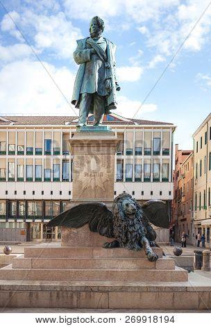 Venice, Italy - October, 08 2017:  Monument Of Daniele Manin (who Was An Italian Patriot, Statesman