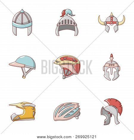 Headpiece Icons Set. Cartoon Set Of 9 Headpiece Icons For Web Isolated On White Background