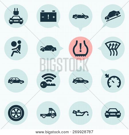 Auto Icons Set With Cabriolet, Station Wagon, Truck And Other Crossover Elements. Isolated Vector Il