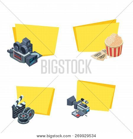 Vector Cinematograph Isometric Elements Stickers With Place For Text Set Illustration Isolated On Wh