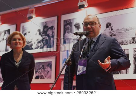 ST. PETERSBURG, RUSSIA - NOVEMBER 15, 2018: Sergey Mikhailov, general director of ITAR-TASS (center), and Olga Golodets, Deputy Prime Minister of Russia during Saint-Petersburg Cultural Forum