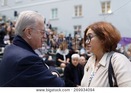 ST. PETERSBURG, RUSSIA - NOVEMBER 17, 2018: Mikhail Piotrovsky, General Director of the State Hermitage Museum (left) and Zelfira Tregulova, director of State Tretiakov Gallery, during SPbICF
