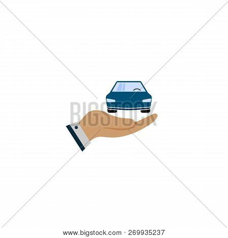Car With Icon Vector. Buying Car Button In Flat Style. Save Money For Buying Car. Hand