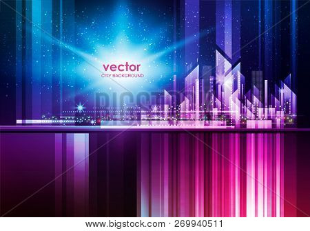 Illuminated Night City Skyline With Glowing Lights, Vector Illustration