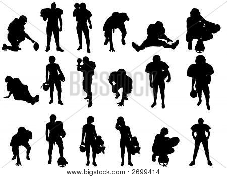 Eighteen vector silhouette images of football players. poster