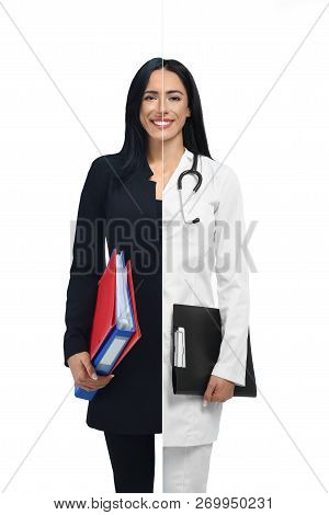Happy Girl In Two Occupations Of Accountant And Doctor Isolated On White Background. Doctor In White