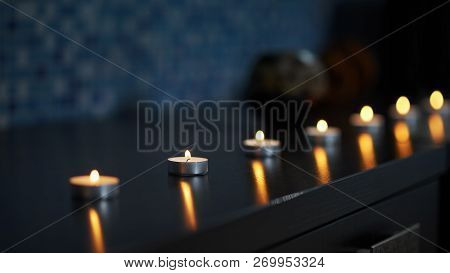 Aroma Candles Staying On Table, Burning In Darkness And Created Antistressing And Peaceful Atmospher
