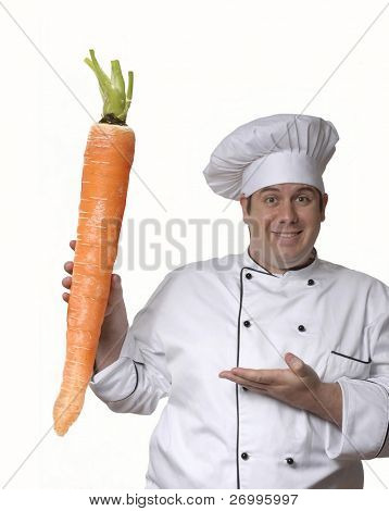 One chef holding a big carrot.