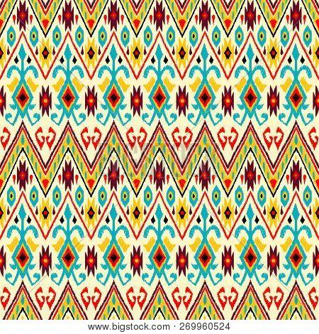 Ikat geometric folklore pattern. Ethnic folk ornament texture. Tribal mengikat textile. Aztec, Indian, Scandinavian, Gypsy or Mexican fabric. poster