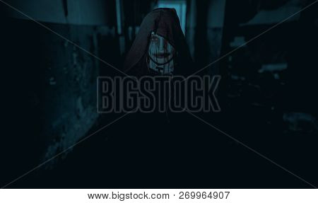 Woman Is Standing In A Darkness Dressed In A Black Hooded Cloak In An Image Of A Nun Possessed By De