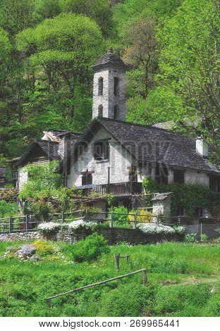 Traditional Village Of Foroglio In Val Bavona,ticino Canton,switzerland