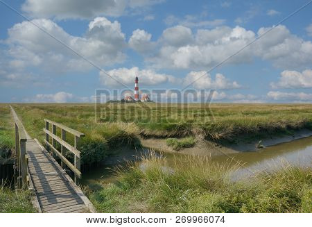 Famous Westerhever Lighthouse At North Sea In North Frisia,schleswig-holstein,germany