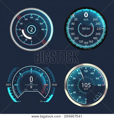 Automobile Modern Speedometer Or Set Of Isolated Car Odometer, Analog Truck Odograph Or Gauge For Me