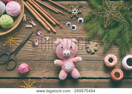 Pink Pig, Symbol Of 2019. Happy New Year. Crochet Toy For Child. On Table Threads, Needles, Hook, Co