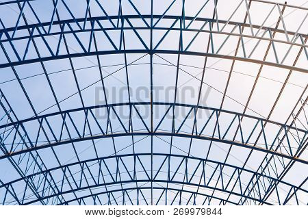 Structural Steel Beam Roof Of Building  Construction