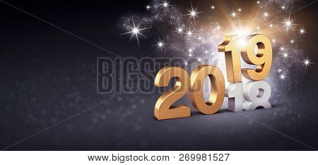 New Year Date Number 2019 Colored In Gold, Above Ending Year 2018, Glittering On A Festive Black Bac