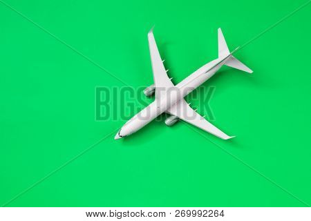 Image of airplane isolated on empty green background