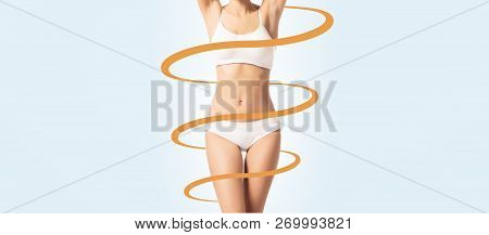Close-up Body Of A Young, Fit And Sporty Female Body In White Underwear. Skincare, Fitness, Dieting,