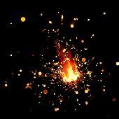 closeup view of burning sparkler poster