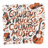 Country music festival retro poster vector template. Hand drawn grunge lettering. Cowboy fest banner, invitation concept. Acoustic guitar, beer, cowboy hat cliparts. Color western vintage illustration poster