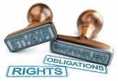 Two rubber stamps with the words rights and obligations over white background. 3D illustration. poster