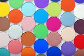The image of colorful bright eye shadow poster