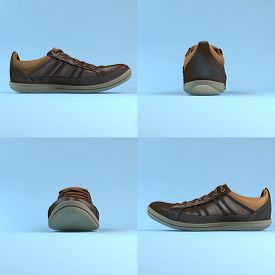 Set Of Leather Brown Shoes With Laces. 3d Rending. Sneakers.