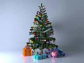 Decorated With Multicolored Balls And Toys Pigs Christmas Tree With Gifts And Piggy Bank. Evening Or