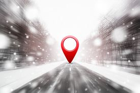 Road In Winter Snow Covered Forest With 3d Red Location Pin
