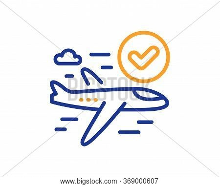 Confirmed Flight Line Icon. Approved Charter Sign. Verified Airplane Symbol. Colorful Thin Line Outl